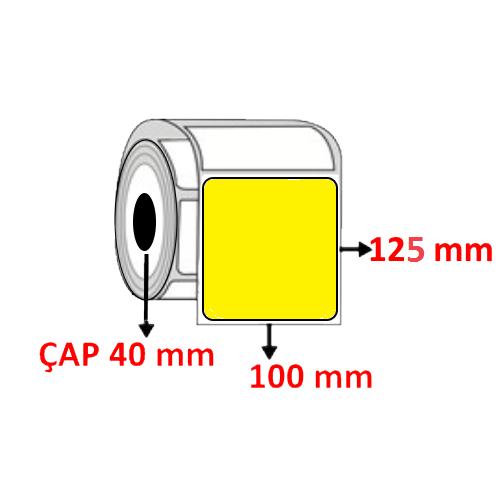 Sarı Renkli 100 mm x 125 mm Barkod Etiketi ÇAP 40 mm ( 6 Rulo ) 2.400 ADET
