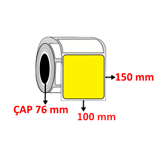 Sarı Renkli 100 mm x 150 mm Barkod Etiketi ÇAP 76 mm ( 6 Rulo ) 6.000  ADET