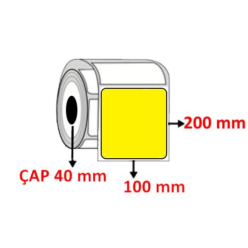 Sarı Renkli 100 mm x 200 mm Barkod Etiketi ÇAP 40 mm ( 6 Rulo )
