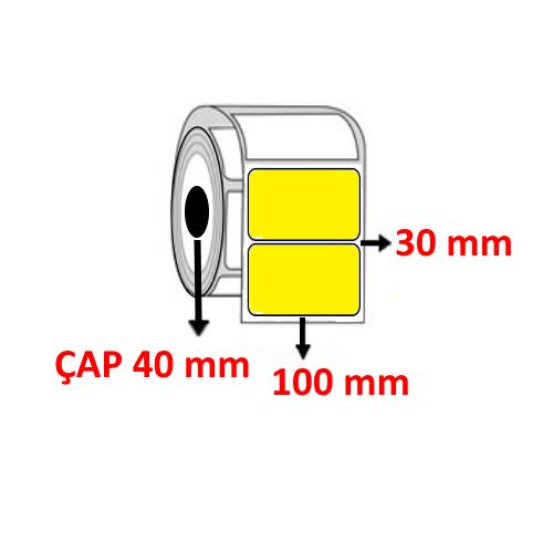 Sarı Renkli 100 mm x 30 mm Barkod Etiketi ÇAP 40 mm ( 6 Rulo )