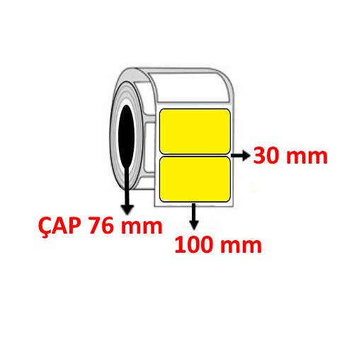 Sarı Renkli 100 mm x 30 mm Barkod Etiketi ÇAP 76 mm ( 6 Rulo ) 27.000 ADET