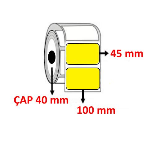 Sarı Renkli 100 mm x 45 mm Barkod Etiketi ÇAP 40 mm ( 6 Rulo ) 6.000  ADET