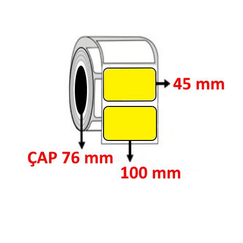Sarı Renkli 100 mm x 45 mm Barkod Etiketi ÇAP 76 mm ( 6 Rulo )