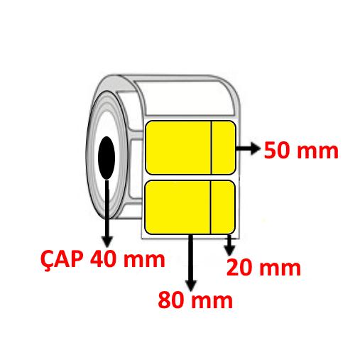 Sarı Renkli 100 mm x 50 mm (80+20) Barkod Etiketi ÇAP 40 mm ( 6 Rulo ) 6.000  ADET
