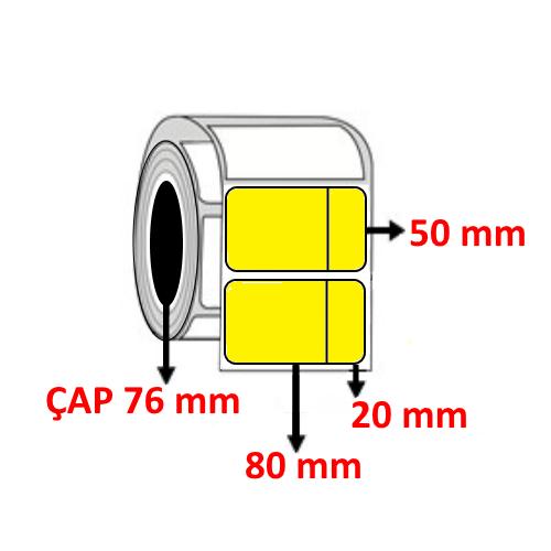 Sarı Renkli 100 mm x 50 mm (80+20) Barkod Etiketi ÇAP 76 mm ( 6 Rulo ) 18.000  ADET