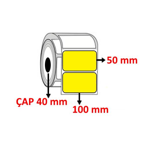 Sarı Renkli 100 mm x 50 mm Barkod Etiketi ÇAP 40 mm ( 6 Rulo )