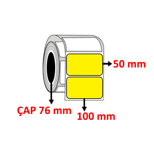 Sarı Renkli 100 mm x 50 mm Barkod Etiketi ÇAP 76 mm ( 6 Rulo )