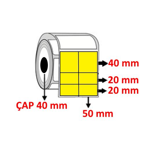 Sarı Renkli 100 mm x 80 (50/40+20+20) mm Barkod Etiketi ÇAP 40 mm ( 6 Rulo )