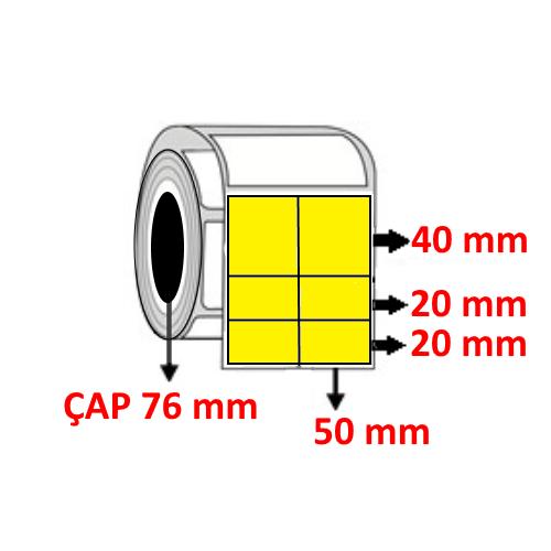 Sarı Renkli 100 mm x 80 mm (50/40+20+20) Barkod Etiketi ÇAP 76 mm ( 6 Rulo )