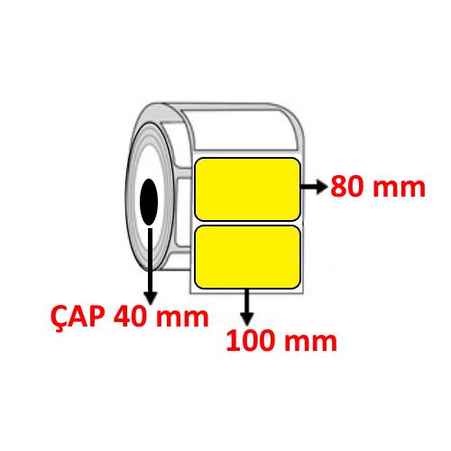 Sarı Renkli 100 mm x 80 mm Barkod Etiketi ÇAP 40 mm ( 6 Rulo ) 3.000 ADET