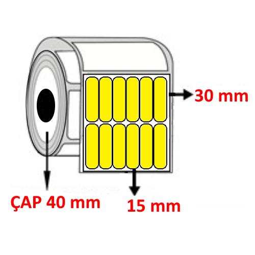 Sarı Renkli 15 mm x 30 mm YY6 LI Barkod Etiketi ÇAP 40 mm ( 6 Rulo ) 54.000 ADET