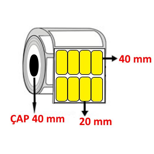 Sarı Renkli 20 mm x 40 mm YY4 LÜ Barkod Etiketi ÇAP 40 mm ( 6 Rulo )