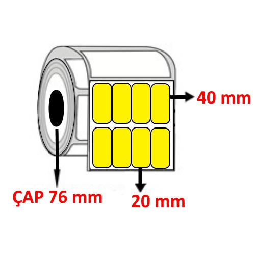 Sarı Renkli 20 mm x 40 mm YY4 LÜ Barkod Etiketi ÇAP 76 mm ( 6 Rulo ) 84.000  ADET