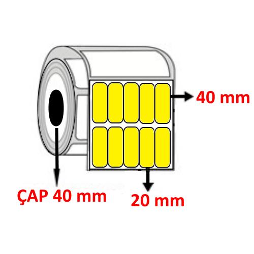 Sarı Renkli 20 mm x 40 mm YY5 Lİ Barkod Etiketi ÇAP 40 mm ( 6 Rulo ) 30.000 ADET