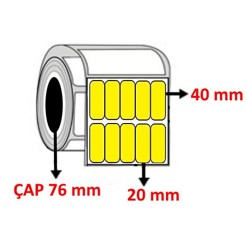 Sarı Renkli 20 mm x 40 mm YY5 Lİ Barkod Etiketi ÇAP 76 mm ( 6 Rulo ) 102.000  ADET