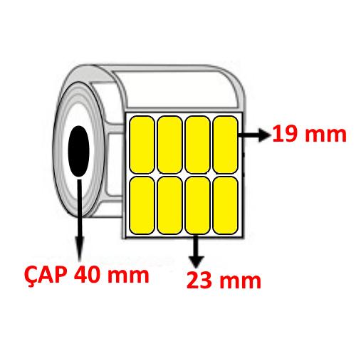 Sarı Renkli 23 mm x 19 mm YY4 LÜ Barkod Etiketi ÇAP 40 mm ( 6 Rulo ) 10.800 ADET