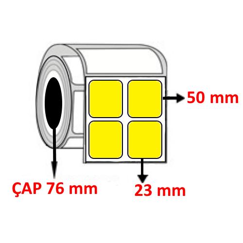 Sarı Renkli 23 mm x 50 mm YY2 Lİ Barkod Etiketi ÇAP 76 mm ( 6 Rulo ) 30.000  ADET