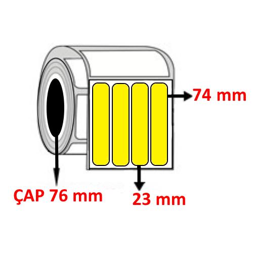 Sarı Renkli 23 mm x 74 mm YY4 LÜ Barkod Etiketi ÇAP 76 mm ( 6 Rulo )