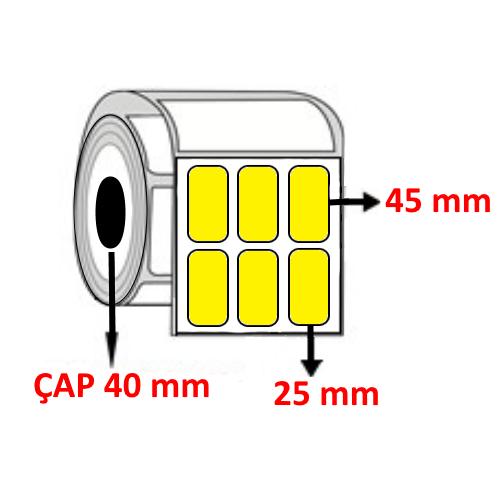 Sarı Renkli 25 mm x 45 mm YY3 LÜ Barkod Etiketi ÇAP 40 mm ( 6 Rulo )