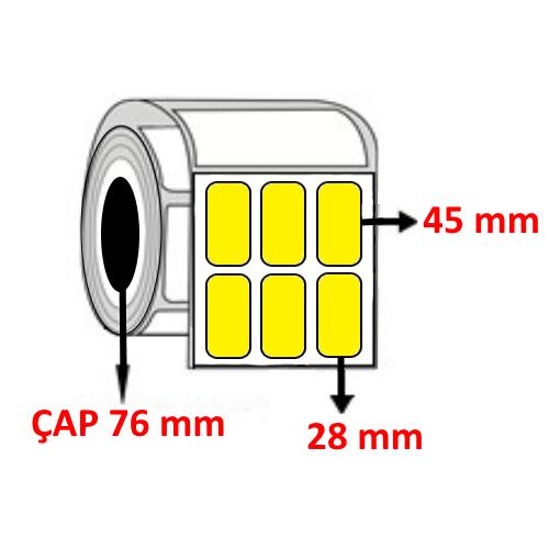 Sarı Renkli 28 mm x 45 mm YY3 LÜ Barkod Etiketi ÇAP 76 mm ( 6 Rulo ) 45.000  ADET
