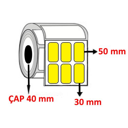 Sarı Renkli 30 mm x 50 mm YY3 LÜ Barkod Etiketi ÇAP 40 mm ( 6 Rulo ) 18.000 ADET