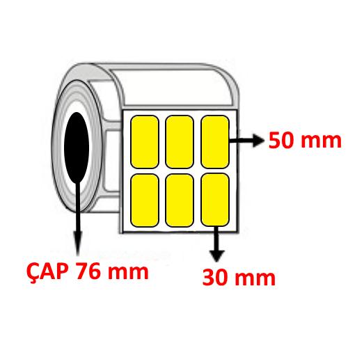 Sarı Renkli 30 mm x 50 mm YY3 LÜ Barkod Etiketi ÇAP 76 mm ( 6 Rulo ) 45.000  ADET
