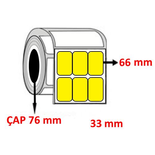 Sarı Renkli 33 mm x 66 mm YY3 LÜ Barkod Etiketi ÇAP 76 mm ( 6 Rulo ) 36.000  ADET
