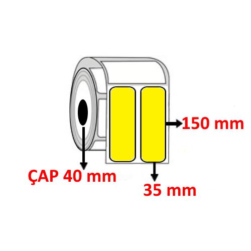 Sarı Renkli 35 mm x 100 mm YY2 Lİ Barkod Etiketi ÇAP 40 mm ( 6 Rulo )