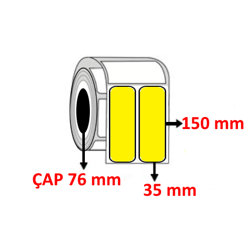 Sarı Renkli 35 mm x 150 mm YY2 Lİ Barkod Etiketi ÇAP 76 mm ( 6 Rulo )
