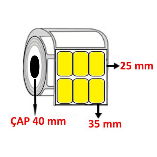 Sarı Renkli 35 mm x 25 mm YY3 LÜ Barkod Etiketi ÇAP 40 mm ( 6 Rulo )
