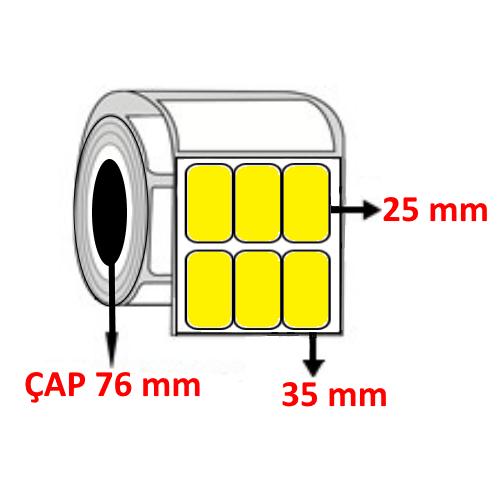 Sarı Renkli 35 mm x 25 mm YY3 LÜ Barkod Etiketi ÇAP 76 mm ( 6 Rulo ) 60.000  ADET