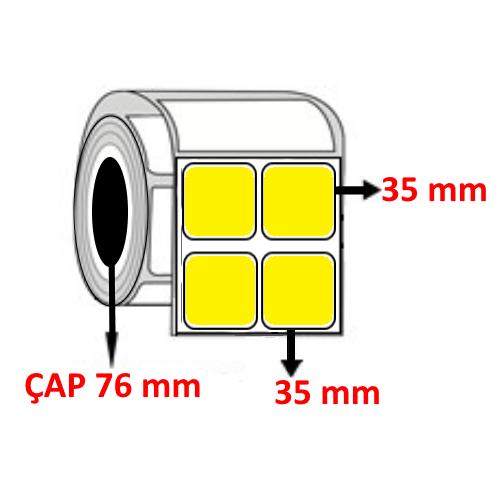 Sarı Renkli 35 mm x 35 mm YY2 li Barkod Etiketi ÇAP 76 mm ( 6 Rulo )