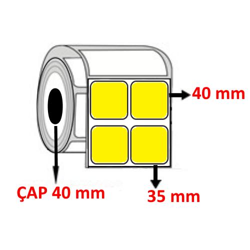 Sarı Renkli 35 mm x 40 mm YY2 Lİ Barkod Etiketi ÇAP 40 mm ( 6 Rulo ) 18.000  ADET