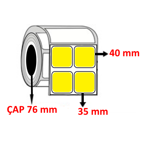 Sarı Renkli 35 mm x 40 mm YY2 Lİ Barkod Etiketi ÇAP 76 mm ( 6 Rulo )