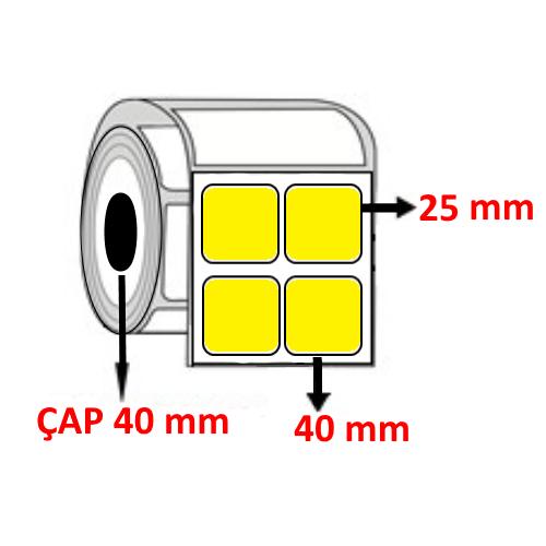 Sarı Renkli 40 mm x 25 mm YY2 Lİ Barkod Etiketi ÇAP 40 mm ( 6 Rulo )