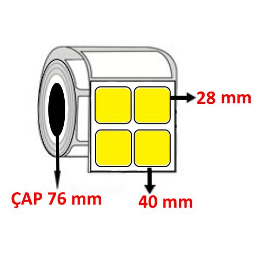 Sarı Renkli 40 mm x 28 mm YY2 Lİ Barkod Etiketi ÇAP 76 mm ( 6 Rulo )