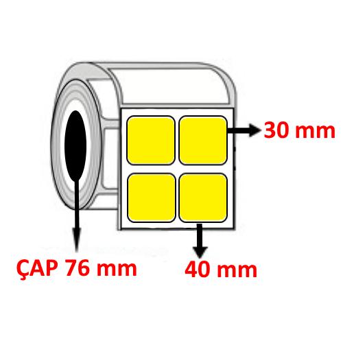 Sarı Renkli 40 mm x 30 mm YY2 Lİ Barkod Etiketi ÇAP 76 mm ( 6 Rulo )