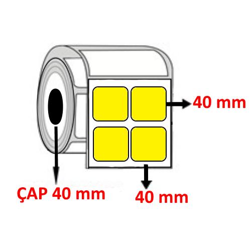 Sarı Renkli 40 mm x 40 mm YY2 Lİ Barkod Etiketi ÇAP 40 mm ( 6 Rulo ) 12.000  ADET