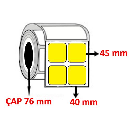 Sarı Renkli 40 mm x 45 mm YY2 Lİ Barkod Etiketi ÇAP 76 mm ( 6 Rulo ) 30.000  ADET