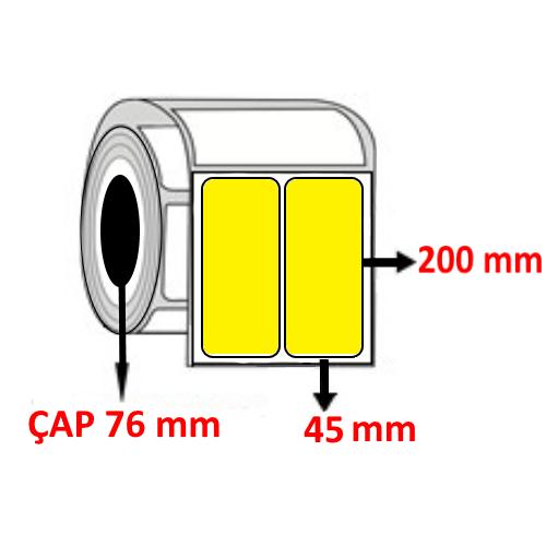 Sarı Renkli 45 mm x 200 mm YY2 Lİ Barkod Etiketi ÇAP 76 mm ( 6 Rulo ) 9.000  ADET