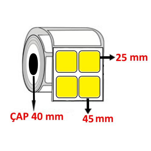 Sarı Renkli 45 mm x 25 mm YY2 Lİ Barkod Etiketi ÇAP 40 mm ( 6 Rulo ) 18.000  ADET