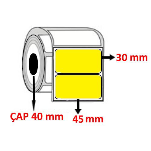 Sarı Renkli 45 mm x 30 mm Barkod Etiketi ÇAP 40 mm ( 6 Rulo ) 9.000  ADET