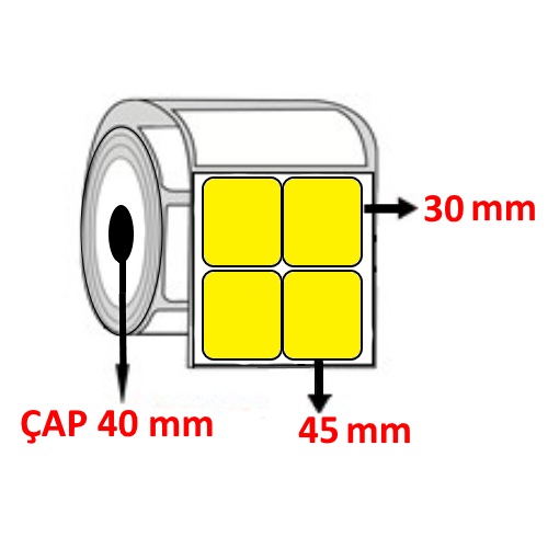 Sarı Renkli 45 mm x 30 mm YY2 Lİ Barkod Etiketi ÇAP 40 mm ( 6 Rulo ) 18.000  ADET