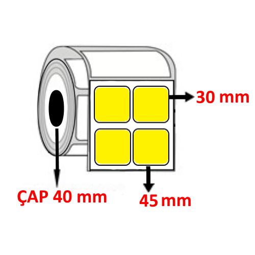 Sarı Renkli 45 mm x 30 mm YY2 Lİ Barkod Etiketi ÇAP 40 mm ( 6 Rulo )