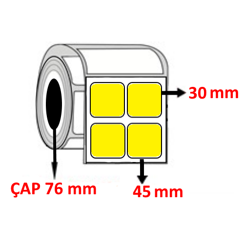 Sarı Renkli 45 mm x 30 mm YY2 Lİ Barkod Etiketi ÇAP 76 mm ( 6 Rulo ) 60.000  ADET