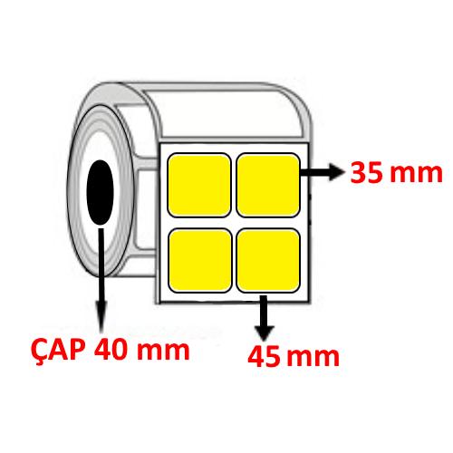 Sarı Renkli 45 mm x 35 mm YY2 Lİ Barkod Etiketi ÇAP 40 mm ( 6 Rulo )