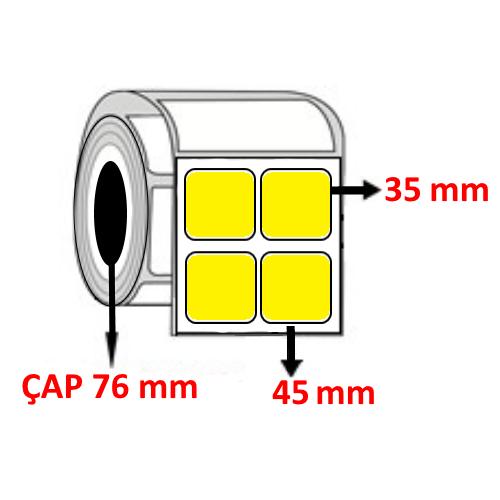 Sarı Renkli 45 mm x 35 mm YY2 Lİ YY2 Lİ Barkod Etiketi ÇAP 76 mm ( 6 Rulo ) 36.000  ADET