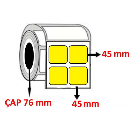 Sarı Renkli 45 mm x 45 mm YY2 Lİ Barkod Etiketi ÇAP 76 mm ( 6 Rulo ) 36.000  ADET