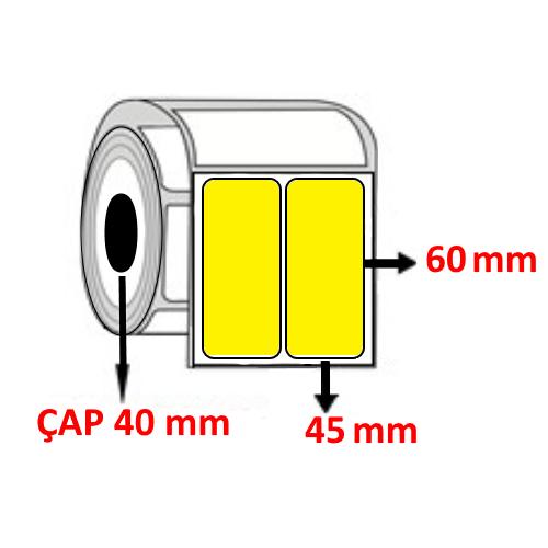 Sarı Renkli 45 mm x 60 mm Barkod Etiketi ÇAP 40 mm ( 6 Rulo ) 9.000  ADET