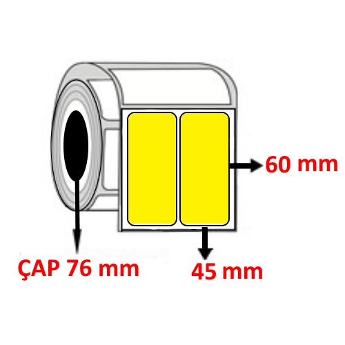 Sarı Renkli 45 mm x 60 mm YY2 Lİ Barkod Etiketi ÇAP 76 mm ( 6 Rulo )